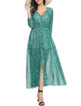 Zeagoo Women Floral Chiffon Deep V-Neck Long Sleeve Slit Button Long Maxi Beach Dress B-green XX-Large