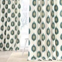 HPD Half Price Drapes PRTW-D02-108 Printed Cotton Curtain (1 Panel), 50 X 108, Mayan Teal