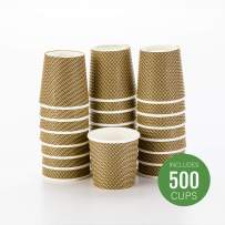 500-CT Disposable Mocha Pin Check 4-oz Hot Beverage Cups with Spiral Wall Design: No Need for Sleeves - Perfect for Cafes - Eco Friendly Recyclable Paper - Insulated - Wholesale Takeout Coffee Cup