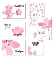 Cavepop 36 Set Pink Floral Thank You Cards with Paper Envelopes, Assorted Card Box with Blank Inside for Personalized Gift, Baby Shower, Bridal, Wedding, Valentines Cards, Birthday Card, Thank You Cards with Envelopes