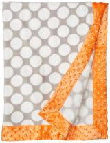 Bacati - Grey Dots with Solid Border Blanket (Grey Dots/Orange Border)