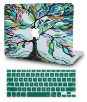 """KECC Laptop Case for MacBook Pro 13"""" (2020/2019/2018/2017/2016) w/Keyboard Cover Plastic Hard Shell A2159/A1989/A1706/A1708 Touch Bar 2 in 1 Bundle (Colorful Tree)"""