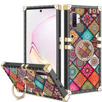 Vofolen Cover for Galaxy Note 10+ 10 Plus Case Ring Holder Kickstand Exotic Colorful Square Diamond Rivet Protective Soft Shell Rotational Finger Loop for Samsung Galaxy Note 10 Plus (Mandala Flower)