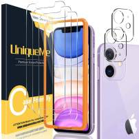[2+3 Pack] UniqueMe Compatible with iPhone 11 6.1 inch Camera Lens Protector and Screen Protector Tempered Glass HD Clarity Bubble Free [Easy Installation]