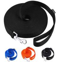 AmaGood Dog/Puppy Obedience Recall Training Agility Lead-15 ft 20 ft 30 ft 50 ft Long Leash-for Dog Training,Tie Out,Play,Safety,Camping (20 feet, Black)