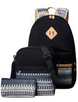H HIKKER-LINK 3pcs School Backpack Set Bookbag Shoulder Bag Pencil Case Black