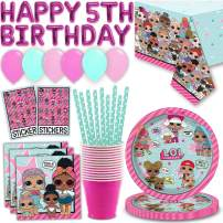 LOL Surprise Birthday Party Set for 16 - Plates, Napkins, Cups, Straws, Happy 5th Birthday Balloon Banner, Table cover, Latex Balloons, Sticker Sheets - Great LOL Doll Party Supplies
