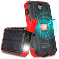 Solar Power Bank 20000mAh QI Wireless Solar Charger with Flashlight & Compass, Waterproof Portable External Battery Pack with 2 Input Ports & 2 USB Output Ports for iOS and Android (Red)