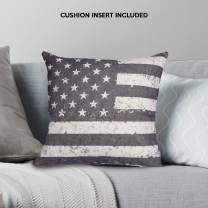 """Decozen Decorative Throw Pillow with Insert 18""""x18"""" inches in 1 Set American Flag Print for Couch Sofa Bed Living Room Bedroom Farmhouse Patio"""