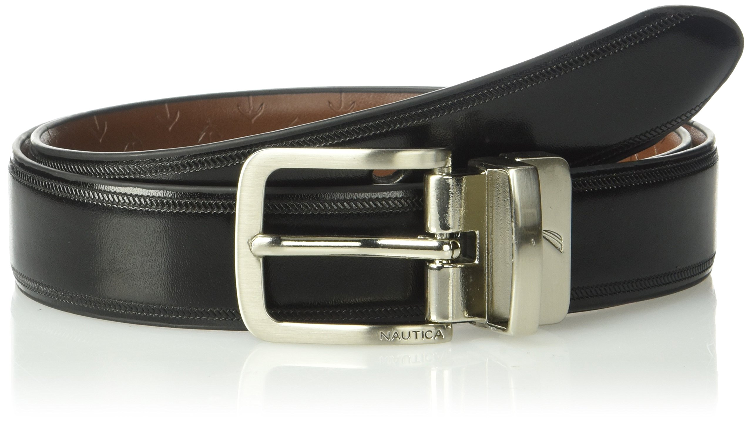 """Nautica Boys' Big 1"""" Wide Reversible Belt with Embossed Anchors"""