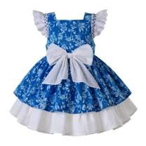 Pettigirl Girls Floral Tea Dress Communion Dresss with Headwear