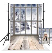 Kate 5x7ft Christmas Photography Backdrops Out Window Frozen Snow Scene Photo Backgrounds Gray Wood Floor Backdrop Baby Shower Newborn Children Photography Props Video
