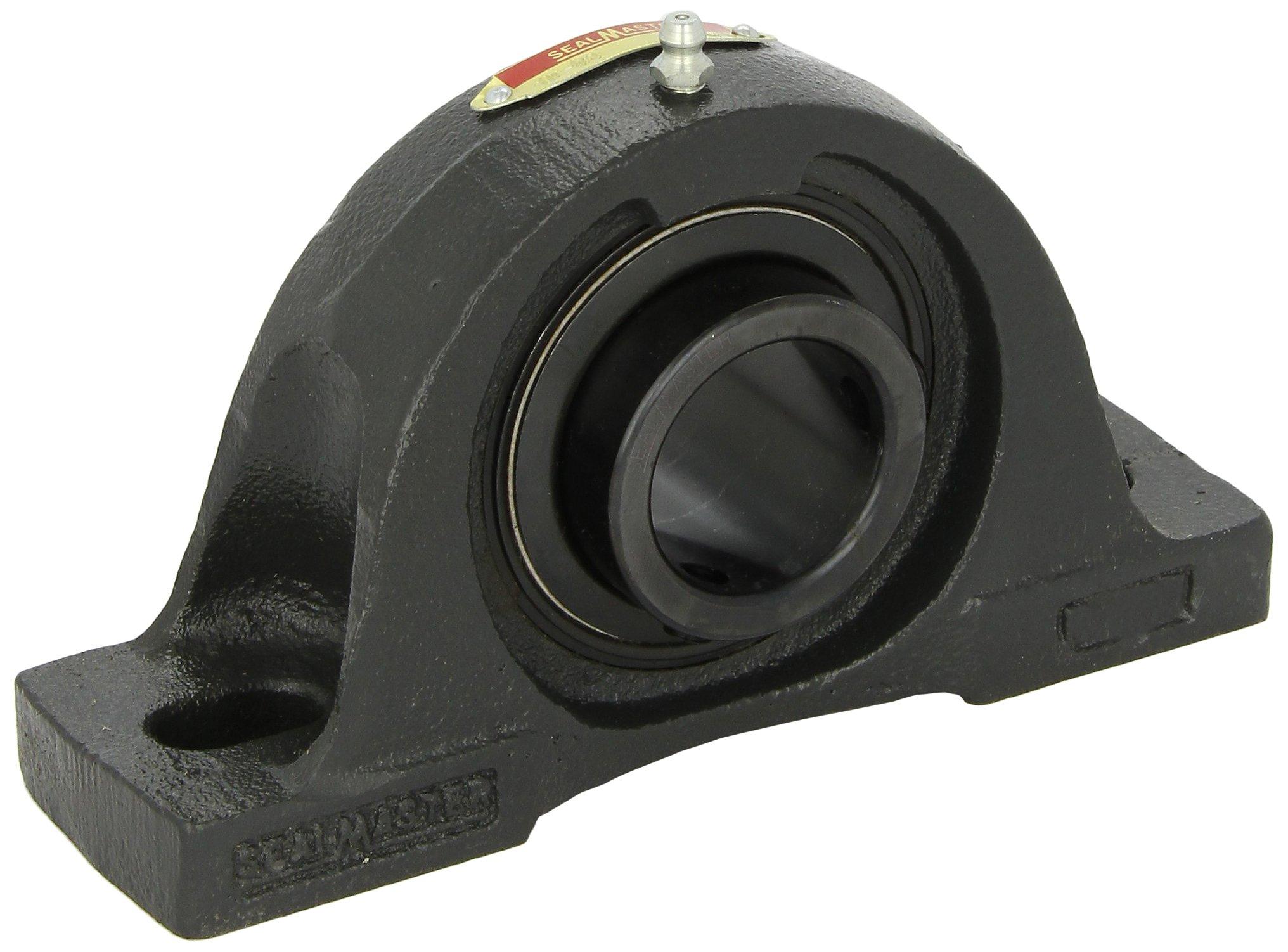"Sealmaster NP-32R Pillow Block Ball Bearing, Non-Expansion Type, Normal-Duty, Regreasable, Setscrew Locking Collar, Felt Seals, Cast Iron Housing, 2"" Bore, 2-1/4"" Base to Center Height, 6-1/4"" Bolt Hole Spacing Width"