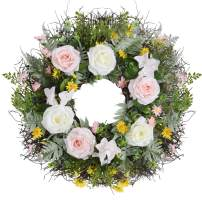 """WANNA-CUL 24"""" Spring Artificial Floral Wreath for Front Door,Pink Rose Flower Door Wreath for Mother's Day with Eucalyptus Leaves and Fern Leaves for Wedding, Wall, Home Decorations"""