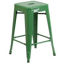 Flash Furniture 24'' High Backless Green Metal Indoor-Outdoor Counter Height Stool with Square Seat