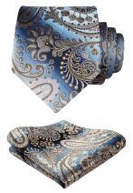 HISDERN Paisley Floral Tie Woven Classic Men's Necktie & Pocket Square Set