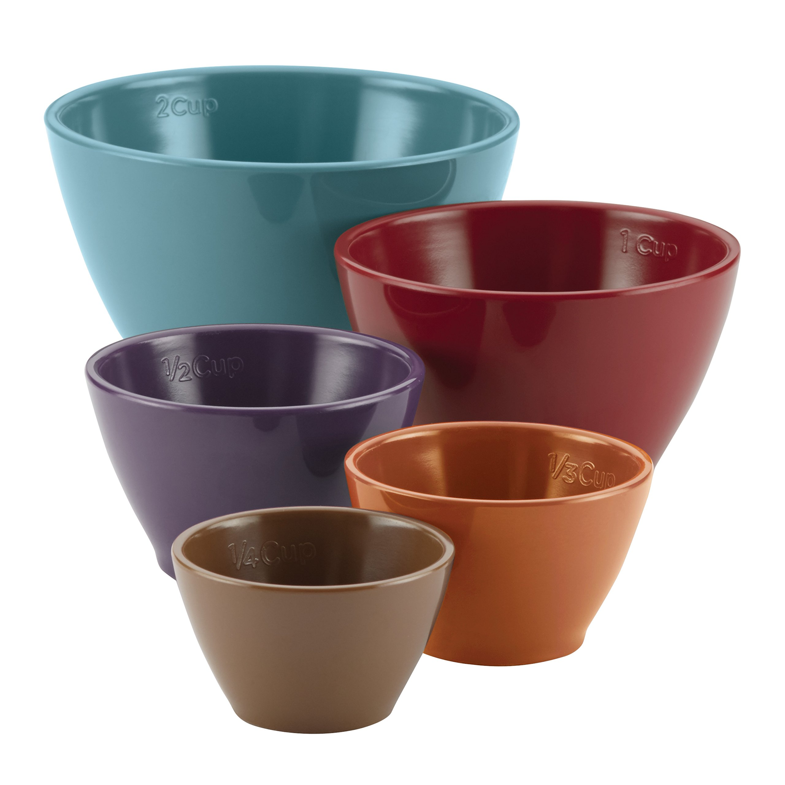 Rachael Ray Cucina Kitchen/Cooking Measuring Cups, Set includes: 1/4-Cup Brown, 1/3-Cup Orange, 1/2-Cup Lavender, 1-Cup Red, 2-Cup Blue, Assorted