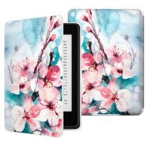 MoKo Case for Kindle Paperwhite, Premium PU Leather Cover with Auto Wake/Sleep Fits All Paperwhite Generations Prior to 2018 (Will not fit All-New Paperwhite 10th Generation), Peach Blossom