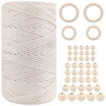 Macrame 3mm Cotton Cord, Natural Cotton Cord, 220 Yards, 44pcs Macrame Wooden Beads for Wall Hanging, Plant Hangers, Crafts, Knitting, Decorative Projects
