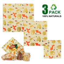 GiiYoon Premium Beeswax Wraps-Set of 3 Reusable Bees Wax Food Wraps, Zero Waste Sustainable organic Storage for Sandwich,Fruit,Bread | Eco Friendly Alternative to Plastic Bags, Cling Wrap