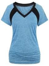 Nandashe Women's Short Sleeve Yoga Tops Dry Fit Activewear Running Workout Shirt
