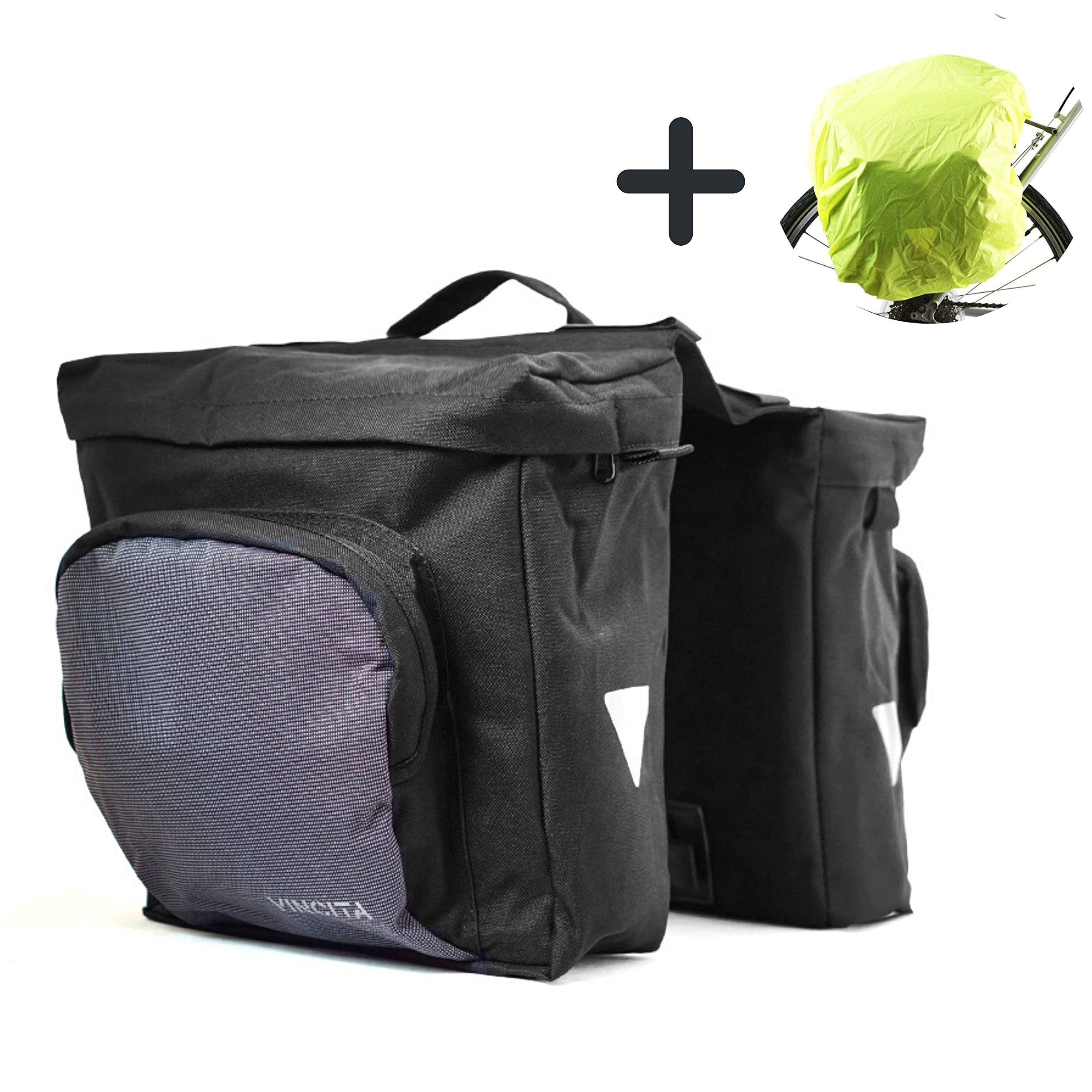 Vincita Double Pannier Water-Resistant Side Bags Large Compartments Quick Release Lever Lock Clip-on with Rain Cover for Bicycle Cargo Rear Rack Saddle Bag Shoulder Bag Pannier Rack Bicycle Bag Bike