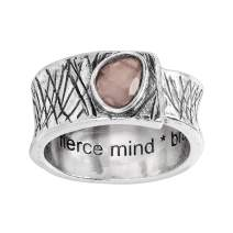 Silpada 'Brave Spirit' Natural Rose Quartz Ring in Etched Sterling Silver