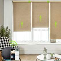 Yoolax Motorized Smart Shade with Remote Control Work with Alexa, Electric Half-Shading Roller Window Blind Customized Size, Privacy Automatic Rechargeable Battery Solar Shade for Home (Natural Beige)