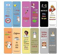 Creanoso Funny Nurse Bookmarks Cards (30-Pack) - Assorted Designs for Children - Classroom Reward Incentives for Students - Stocking Stuffers Party Favors & Giveaways for Teens & Adults