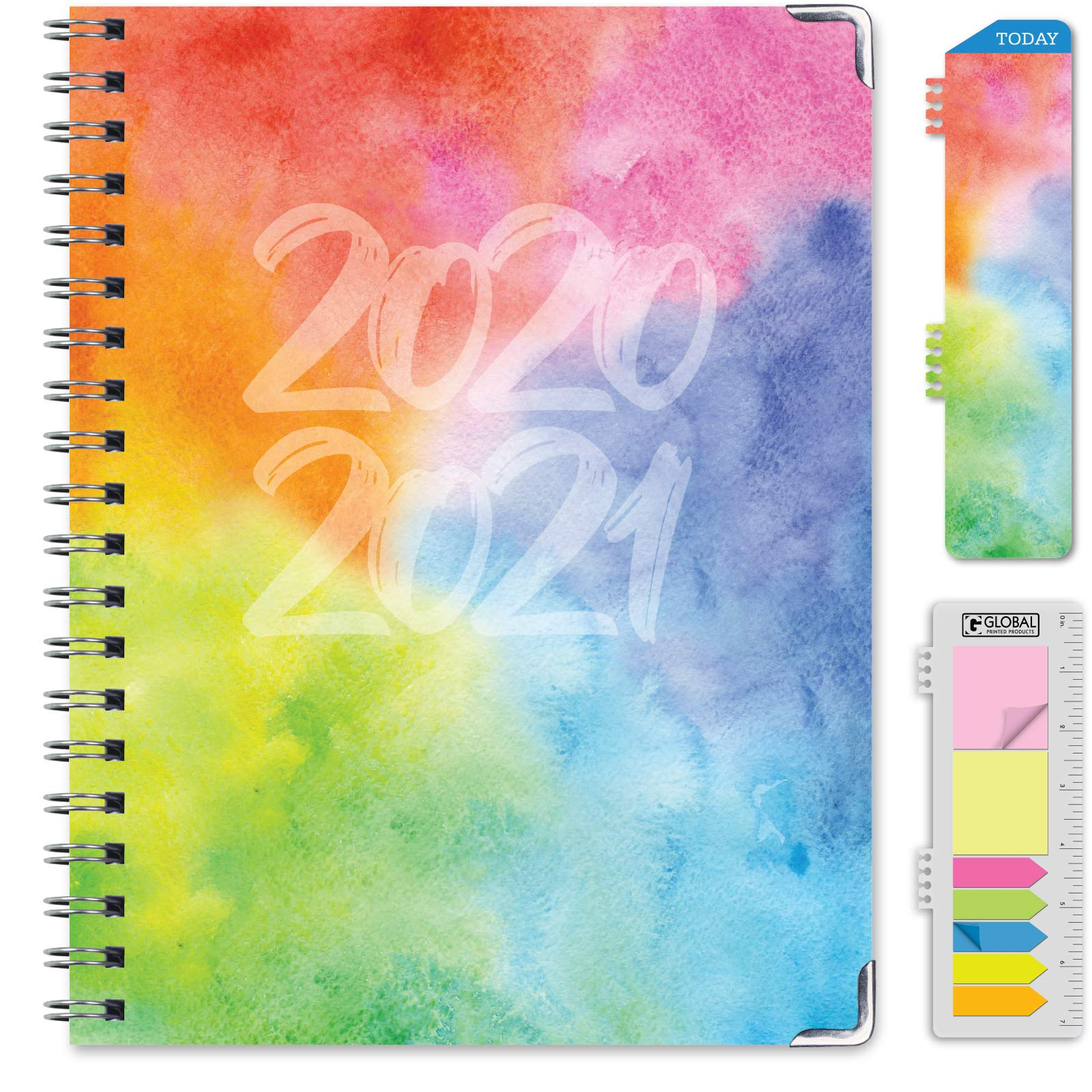"""HARDCOVER Academic Year 2020-2021 Planner: (June 2020 Through July 2021) 8.5""""x11"""" Daily Weekly Monthly Planner Yearly Agenda. Bonus Bookmark, Pocket Folder and Sticky Note Set (Rainbow Watercolors)"""