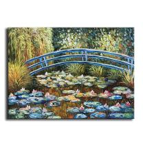 """baccow - 2024"""" Hand Painted Texture Claude Monet Oil Painting on Canvas, 3D Framed Claude Monet 'Bridge at Sea Rose Pond' Wall Art Pictures for Living Room Bedroom Kitchen Home Decorations Gifts"""