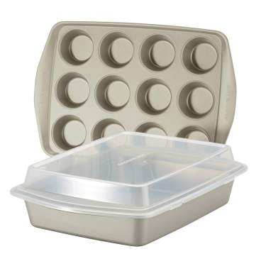 Rachael Ray Nonstick Bakeware Set without Grips includes Nonstick Baking Pan with Lid and Muffin Pan / Cupcake Pan - 3 Piece, Silver