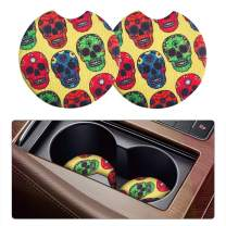 Moly Magnolia Car Coasters for Drinks Absorbent, 2 Pack Cute Car Coasters for Women, Car Cup Holder Coasters for Your Car with Fingertip Grip, Auto Accessories for Women & Lady (Skull)