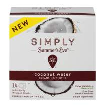 Summer's Eve Simply Cloths | Coconut Water |14 Count | Pack of 1 | pH Balanced, Free from Harsh Chemicals and Dyes