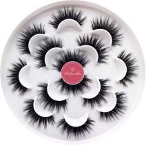 Veleasha Luxurious 5D Faux Mink Lashes 100% Handmade False Eyelashes for Make Up 7 Pairs | Queen