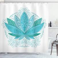 """Ambesonne Lotus Shower Curtain, Lotus Flower with Ornaments Exotic Petals Mehndi Traditional Boho Design, Cloth Fabric Bathroom Decor Set with Hooks, 75"""" Long, Sky Blue"""