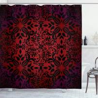 "Ambesonne Red and Black Shower Curtain, Mandala Oriental Design Flowers and Leaves Frame Image, Cloth Fabric Bathroom Decor Set with Hooks, 84"" Long Extra, Vermilion Black"