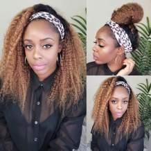 1B/30 Ombre Blonde Headband Wig Human Hair Glueless None Lace Front Wigs Brizilian Virgin Hair Machine Made Headband Wig for Black Women 150% Density 14 Inch