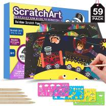 POKONBOY Rainbow Scratch Paper Art Kit for Kids - 50 Big Sheets Scratch Art Paper & 4 Stencils & 5 Wooden Styluses | Rainbows Scratchboard Arts & Crafts Kits for Kids