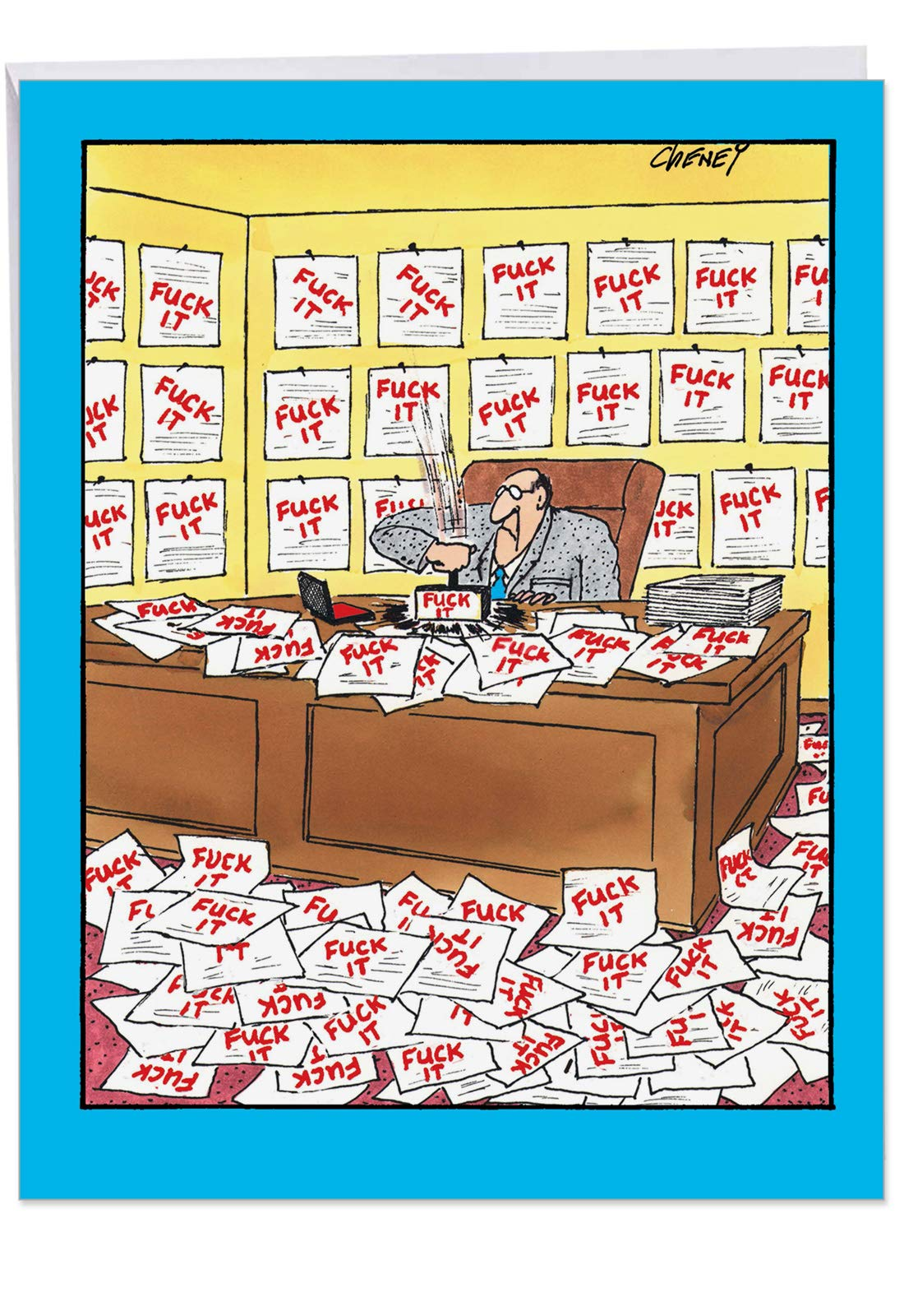 Man With Stamp Birthday' Big Greeting Card with Envelope 8.5 x 11 Inch - Office Work Funny Cartoons, F-ck Paperwork Comic Art Stationery Set for Personalized Happy Bday Greetings and Wishes J4728