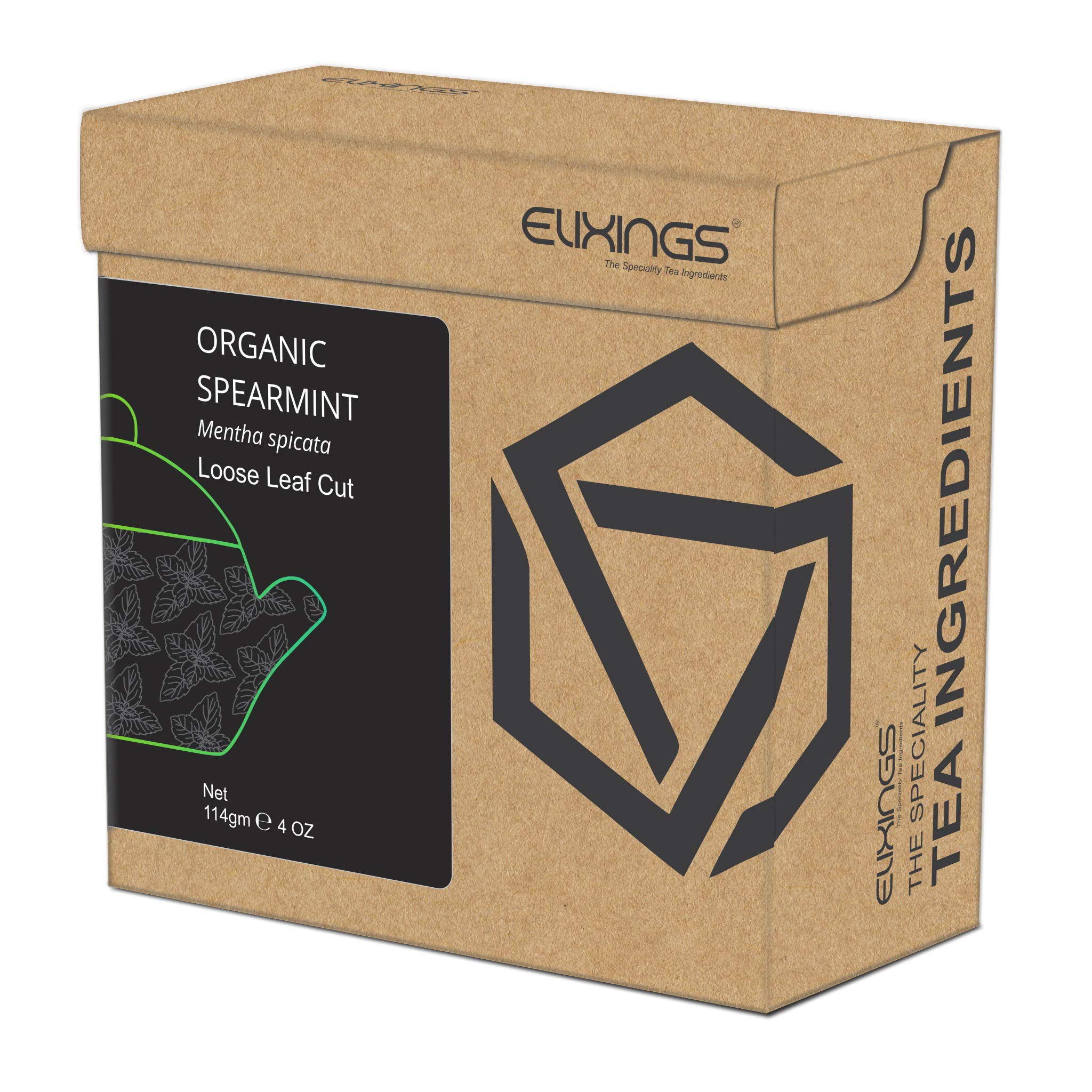 Elixings Organic Spearmint Leaves Loose Leaf Cut 114gm (4 OZ) Mentha spicata, The Speciality Tea Ingredients