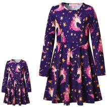QPANCY Matching Doll&Girls Dresses Long Sleeve Unicorn Outfits Cotton Clothes