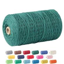 Macrame Cord, ZOUTOG 2mm x 328 yd (About 300m) 100% Natural Cotton Soft Unstained Rope for Handmade Plant Hanger Wall Hanging Craft Making, Dark Green