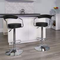Flash Furniture 2 Pk. Contemporary Black Vinyl Adjustable Height Barstool with Arms and Chrome Base