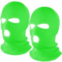 Fvviia 2 Pieces 3 Hole Knitted Face Cover Double Thermal Windproof Winter Ski Mask for Outdoor Sports