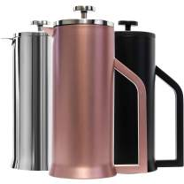 Lafeeca French Press Coffee Maker - Stainless Steel Double Wall Vacuum Insulated - Large Thermal Brewer 34 oz 1000 ml Rose Gold
