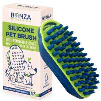 Bonza Cat and Dog Massage Brush, Easy to Clean Dog Bath Brush with Removable Screen, Soft Silicone Bristles are Gentle on Your Pet. Brushing for Medium to Long Haired Dogs and Cats
