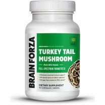 Brain Forza Organic Turkey Tail Mushroom Immune System & Liver Support, Non-GMO, Vegan, Organic, 90 Capsules
