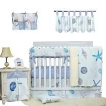 Brandream Baby Boys Crib Bedding Sets Blue White Beach Theme Nautical Nursery Bedding with Starfish Seashell 100% Cotton 9 Piece Cradle Bedding with Long Rail Cover, Hot