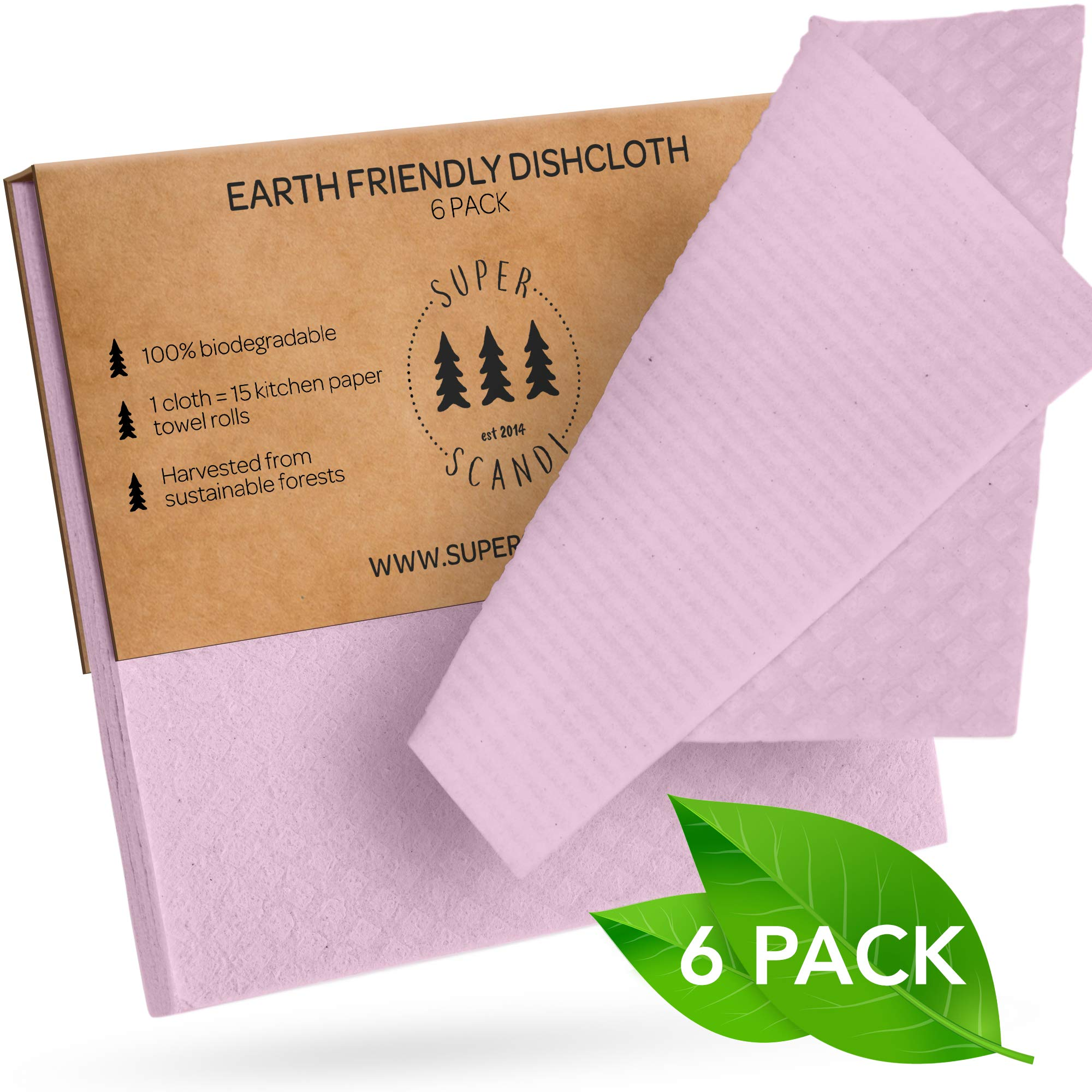 SUPERSCANDI Swedish Dishcloths Reusable Biodegradable Cellulose Sponge Cleaning Cloths for Kitchen Dish Rags Washing Wipes Paper Towel Replacement Washcloths (6 Pack Light Pink)